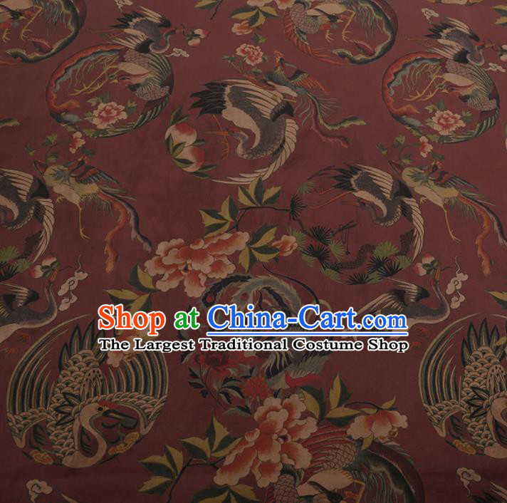 Chinese Classical Cheongsam Drapery Purplish Red Silk Fabric Traditional Phoenix Pattern Satin Plain Gambiered Guangdong Gauze
