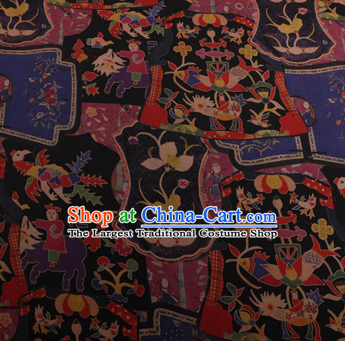 Chinese Classical Cheongsam Drapery Black Silk Fabric Traditional Pattern Satin Plain Gambiered Guangdong Gauze