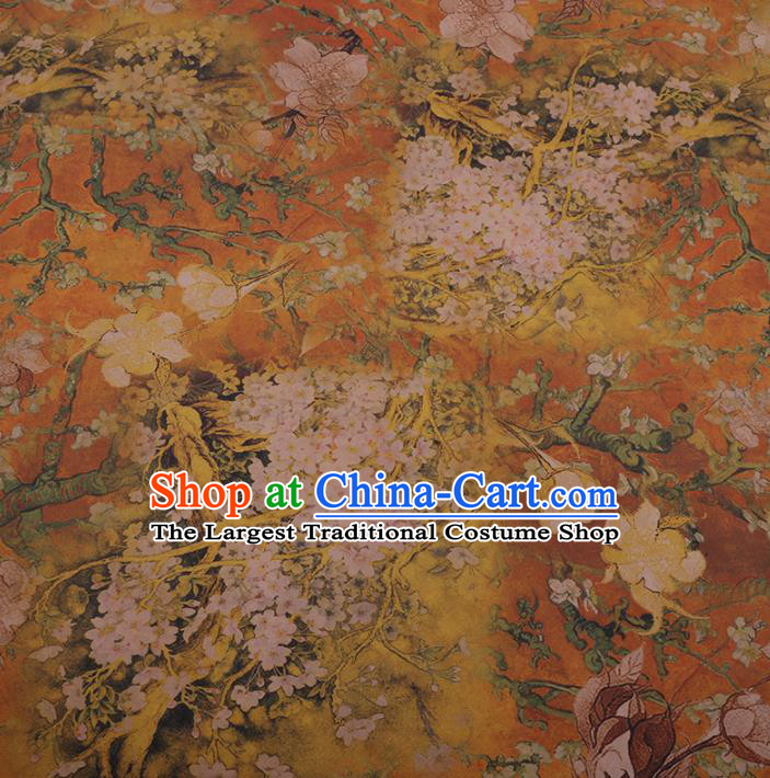 Chinese Classical Golden Satin Plain Cheongsam Drapery Silk Fabric Traditional Pear Flowers Pattern Gambiered Guangdong Gauze