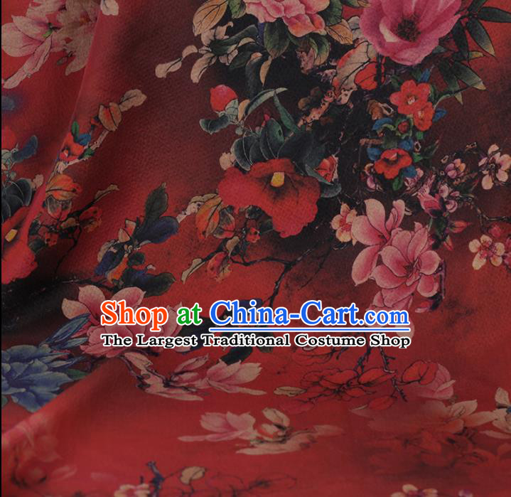 Chinese Classical Red Satin Plain Cheongsam Drapery Silk Fabric Traditional Peony Pattern Gambiered Guangdong Gauze