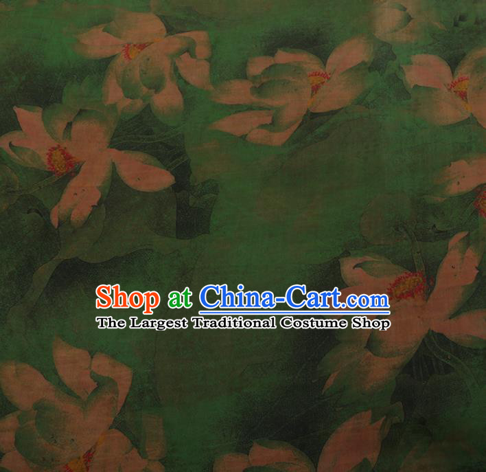 Chinese Classical Green Satin Plain Cheongsam Drapery Silk Fabric Traditional Lotus Pattern Gambiered Guangdong Gauze