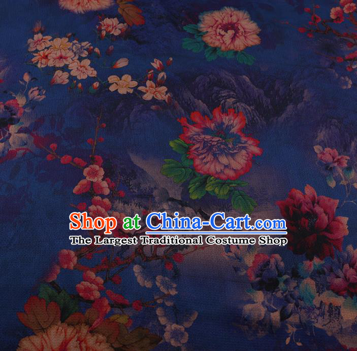 Chinese Classical Blue Satin Plain Traditional Peony Pattern Cheongsam Drapery Silk Fabric Gambiered Guangdong Gauze