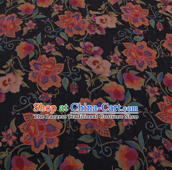 Chinese Classical Black Satin Plain Traditional Phalaenopsis Pattern Cheongsam Drapery Silk Fabric Gambiered Guangdong Gauze