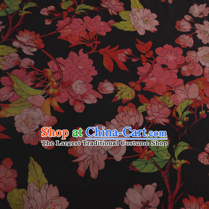 Chinese Classical Black Satin Plain Traditional Peach Blossom Pattern Cheongsam Drapery Silk Fabric Gambiered Guangdong Gauze
