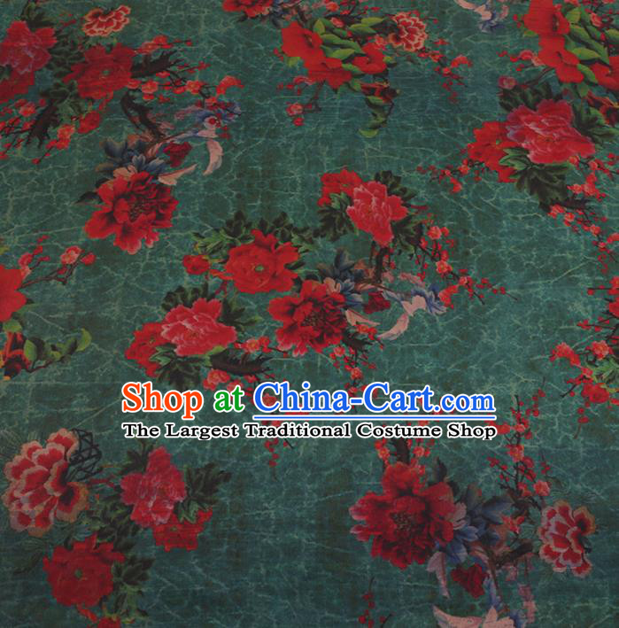 Chinese Classical Green Satin Plain Traditional Peony Pattern Cheongsam Drapery Silk Fabric Gambiered Guangdong Gauze