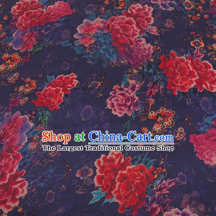 Chinese Classical Purple Satin Plain Traditional Peony Pattern Cheongsam Drapery Silk Fabric Gambiered Guangdong Gauze