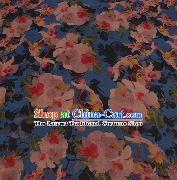 Chinese Classical Blue Satin Plain Traditional Pattern Cheongsam Drapery Silk Fabric Gambiered Guangdong Gauze