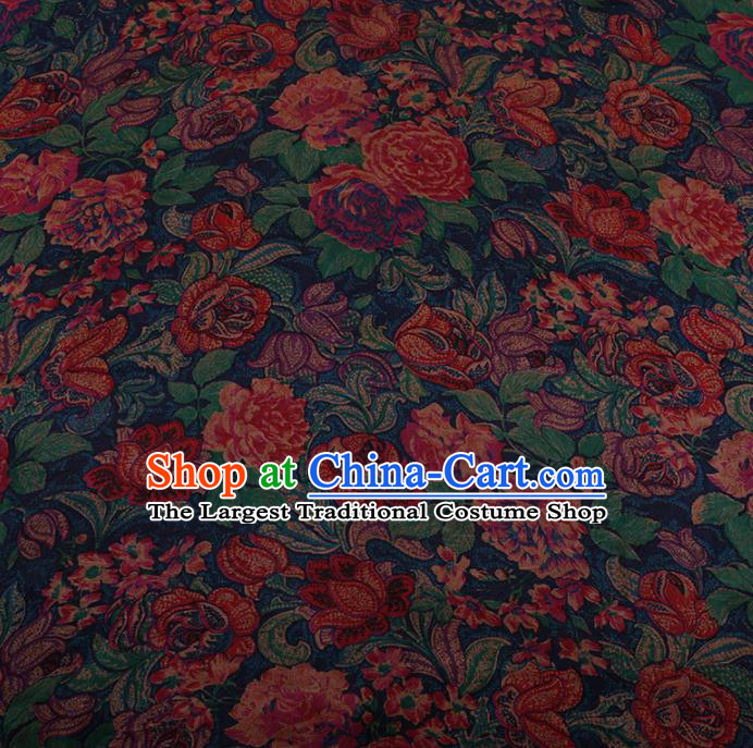 Chinese Traditional Cheongsam Drapery Silk Fabric Palace Pattern Satin Plain Gambiered Guangdong Gauze