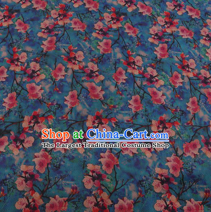 Chinese Classical Blue Satin Plain Traditional Peach Blossom Pattern Cheongsam Drapery Silk Fabric Gambiered Guangdong Gauze