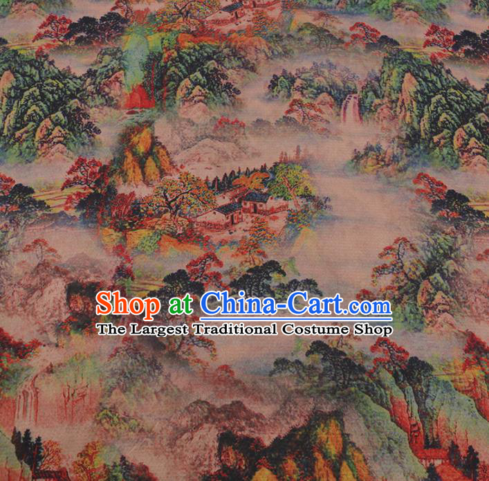 Chinese Classical Satin Plain Traditional Landscape Pattern Cheongsam Drapery Silk Fabric Gambiered Guangdong Gauze