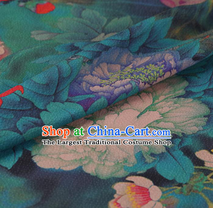 Chinese Traditional Cheongsam Drapery Green Silk Fabric Palace Lotus Peony Pattern Satin Plain Gambiered Guangdong Gauze
