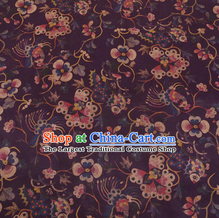Chinese Classical Purple Satin Plain Traditional Butterfly Pattern Cheongsam Drapery Silk Fabric Gambiered Guangdong Gauze