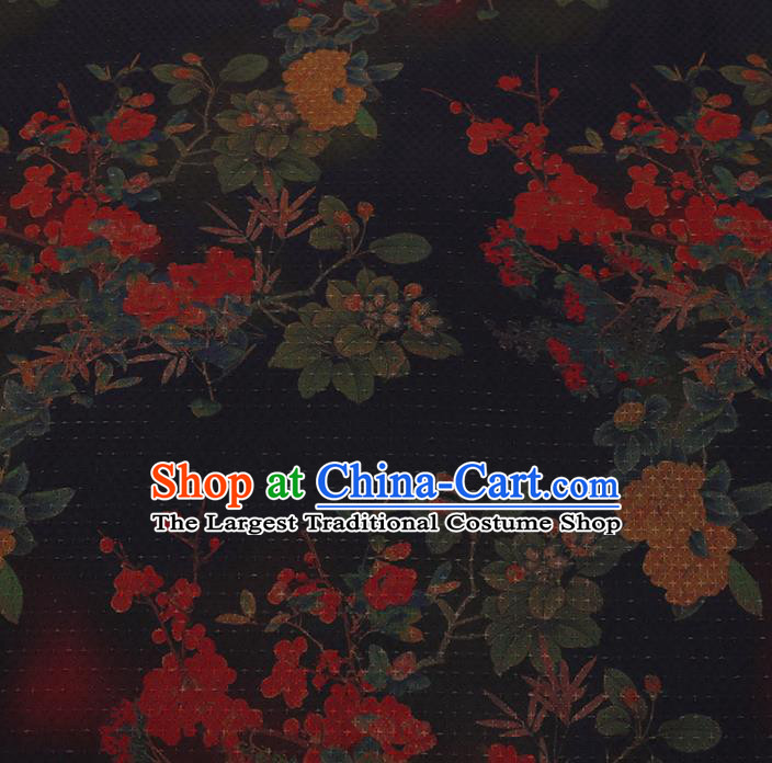 Chinese Classical Satin Plain Traditional Plum Blossom Pattern Cheongsam Drapery Silk Fabric Gambiered Guangdong Gauze