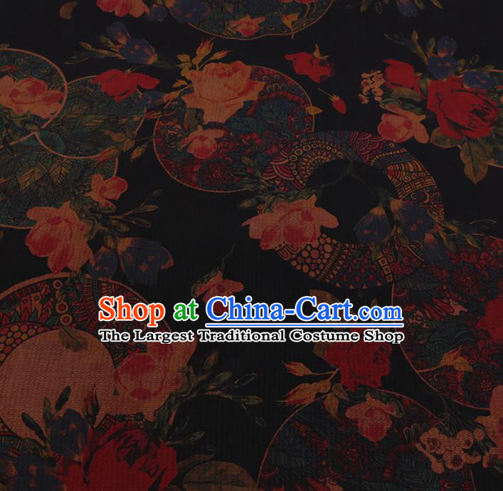 Chinese Classical Satin Plain Traditional Roses Pattern Cheongsam Drapery Silk Fabric Gambiered Guangdong Gauze