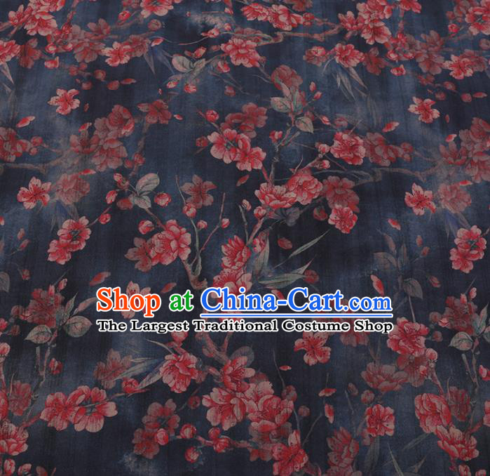 Chinese Classical Navy Satin Plain Traditional Peach Blossom Pattern Cheongsam Drapery Silk Fabric Gambiered Guangdong Gauze