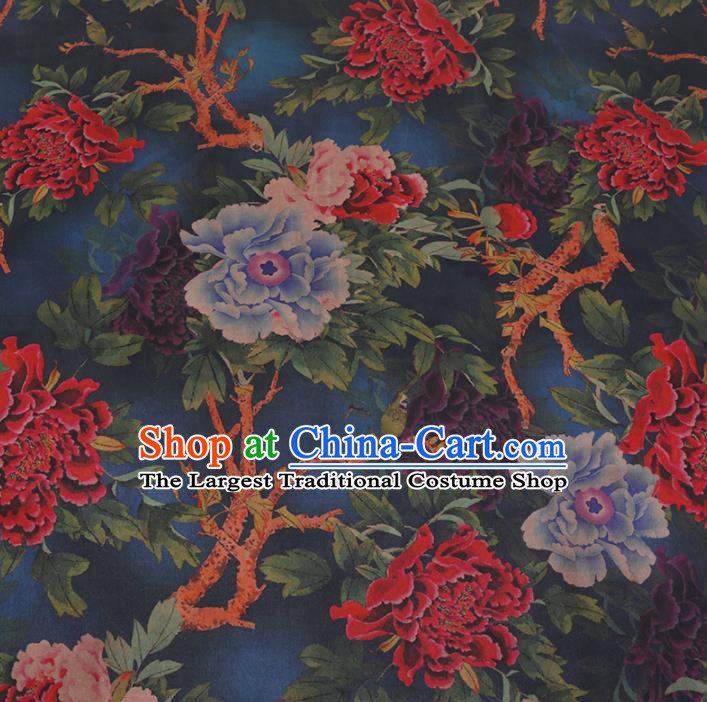 Chinese Classical Blue Satin Plain Traditional Peony Flowers Pattern Cheongsam Drapery Silk Fabric Gambiered Guangdong Gauze