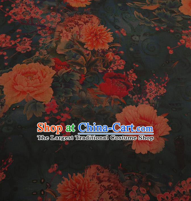 Chinese Traditional Cheongsam Drapery Green Silk Fabric Palace Peony Pattern Satin Plain Gambiered Guangdong Gauze