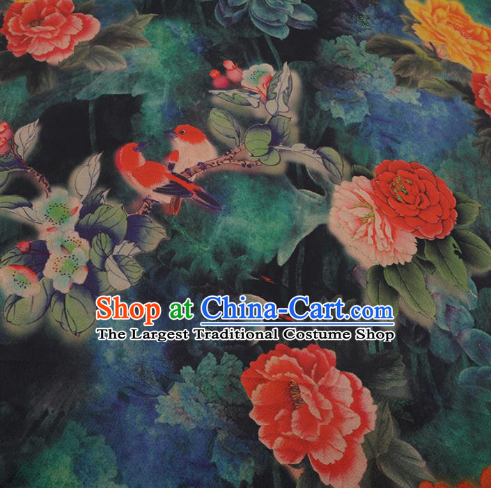 Chinese Traditional Cheongsam Drapery Blue Silk Fabric Palace Peony Birds Pattern Satin Plain Gambiered Guangdong Gauze