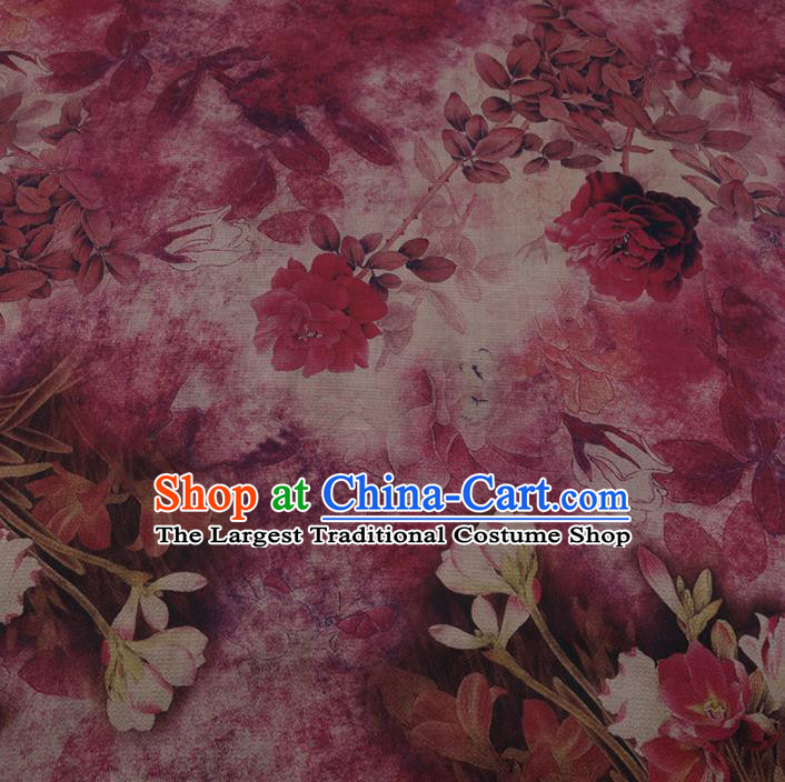 Chinese Classical Rosy Silk Fabric Traditional Peony Pattern Satin Plain Cheongsam Drapery Gambiered Guangdong Gauze