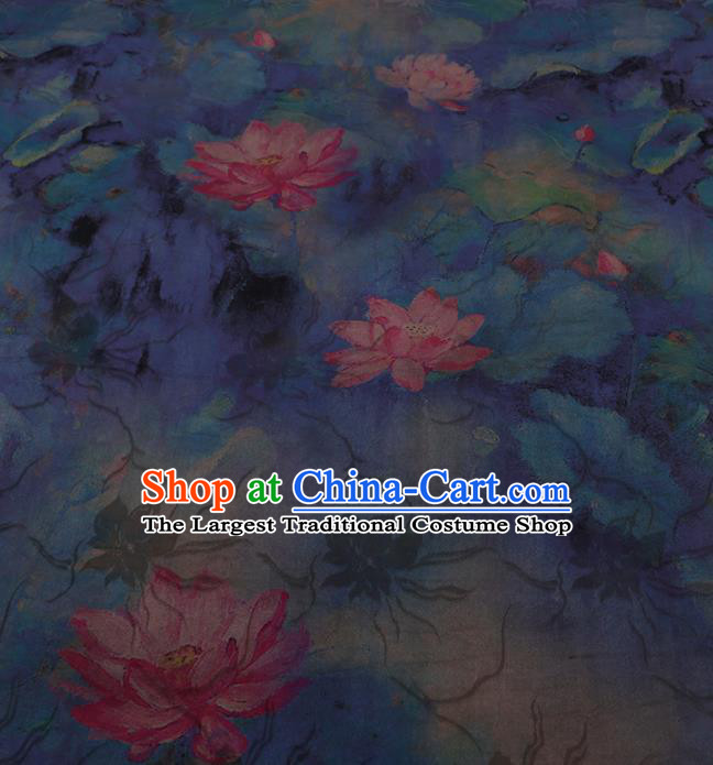 Chinese Classical Blue Silk Fabric Traditional Lotus Pattern Satin Plain Cheongsam Drapery Gambiered Guangdong Gauze