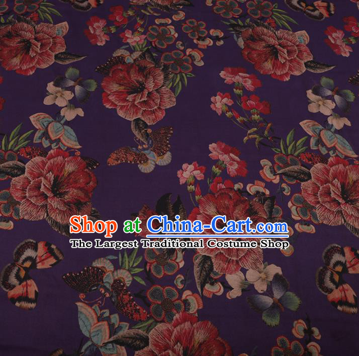 Chinese Traditional Purple Silk Fabric Classical Peony Pattern Satin Plain Cheongsam Drapery Gambiered Guangdong Gauze