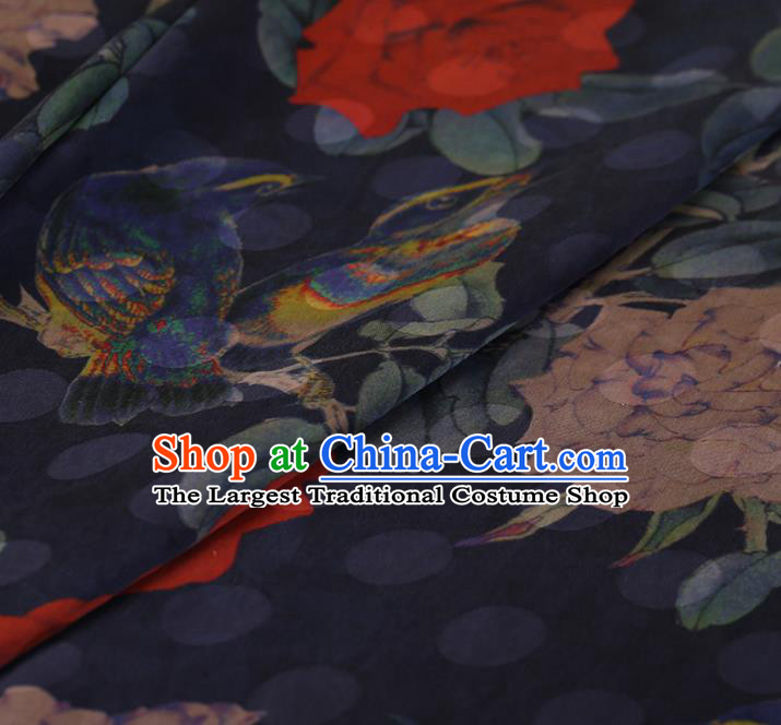 Chinese Traditional Navy Silk Fabric Classical Peony Pattern Satin Plain Cheongsam Drapery Gambiered Guangdong Gauze