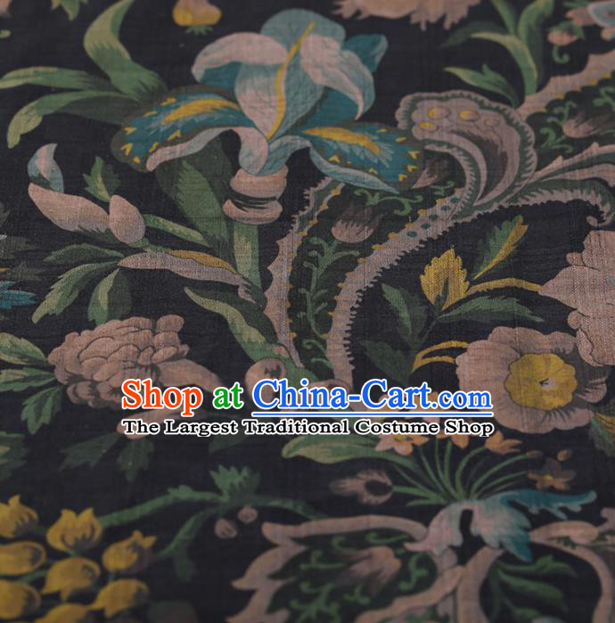 Chinese Traditional Black Silk Fabric Classical Flowers Pattern Satin Plain Cheongsam Drapery Gambiered Guangdong Gauze