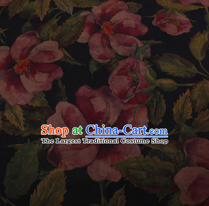 Chinese Traditional Silk Fabric Classical Flowers Pattern Black Satin Plain Cheongsam Drapery Gambiered Guangdong Gauze