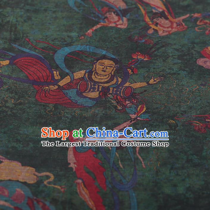 Chinese Traditional Silk Fabric Classical Fairy Pattern Green Satin Plain Cheongsam Drapery Gambiered Guangdong Gauze