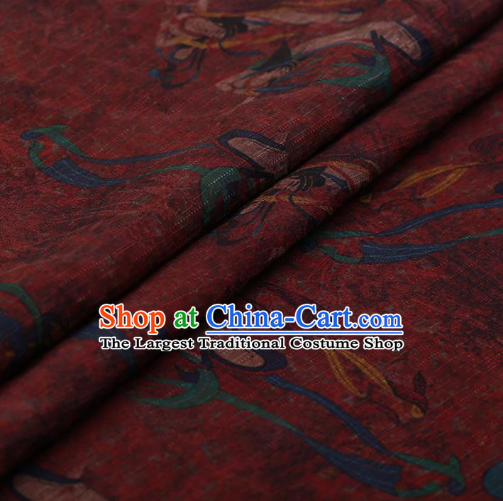 Chinese Traditional Silk Fabric Classical Fairy Pattern Red Satin Plain Cheongsam Drapery Gambiered Guangdong Gauze