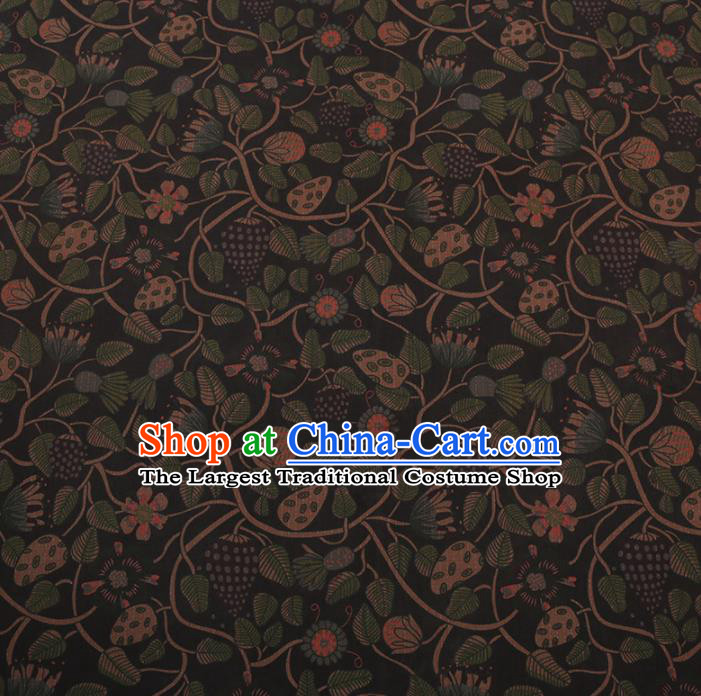 Chinese Traditional Silk Fabric Classical Strawberry Pattern Black Satin Plain Cheongsam Drapery Gambiered Guangdong Gauze