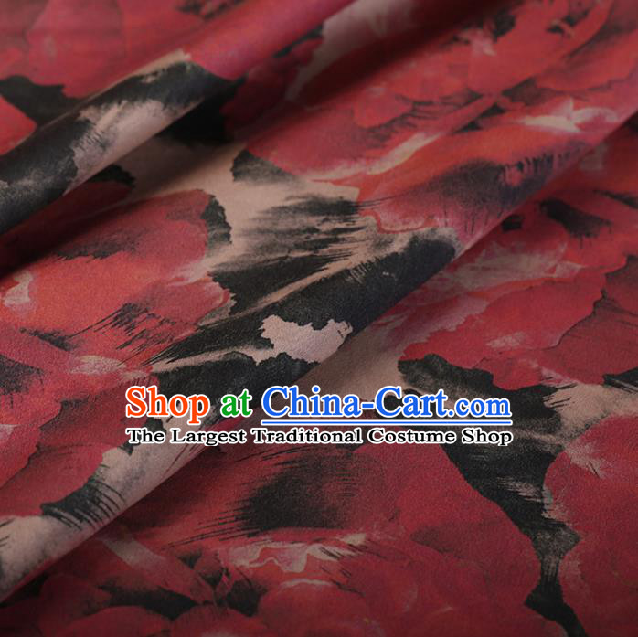 Chinese Traditional Silk Fabric Classical Pattern Red Satin Plain Cheongsam Drapery Gambiered Guangdong Gauze