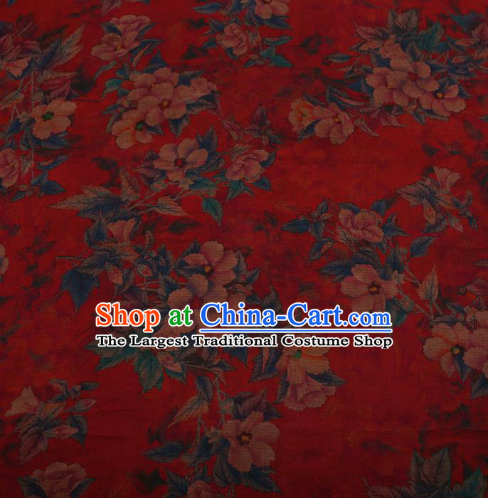 Chinese Traditional Silk Fabric Classical Azalea Pattern Red Satin Plain Cheongsam Drapery Gambiered Guangdong Gauze