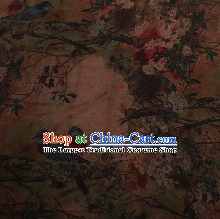 Chinese Traditional Silk Fabric Classical Plum Blossom Pattern Brown Satin Plain Cheongsam Drapery Gambiered Guangdong Gauze