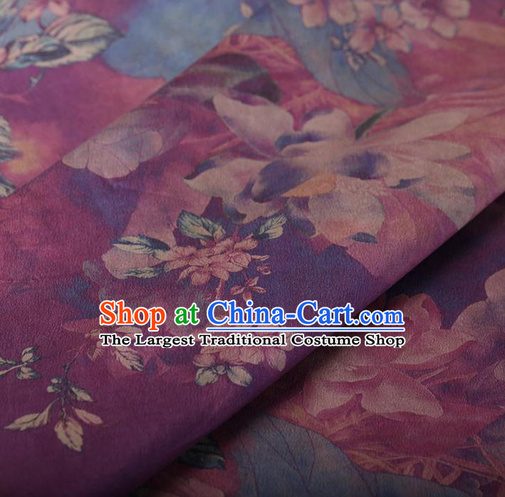 Chinese Traditional Silk Fabric Classical Lotus Pattern Purple Satin Plain Cheongsam Drapery Gambiered Guangdong Gauze
