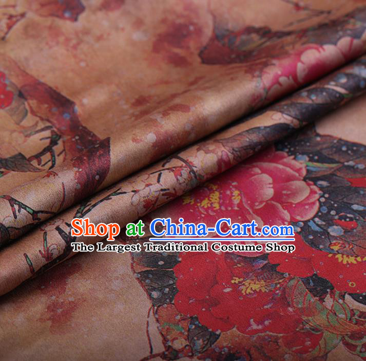 Chinese Traditional Silk Fabric Classical Peony Pattern Khaki Satin Plain Cheongsam Drapery Gambiered Guangdong Gauze