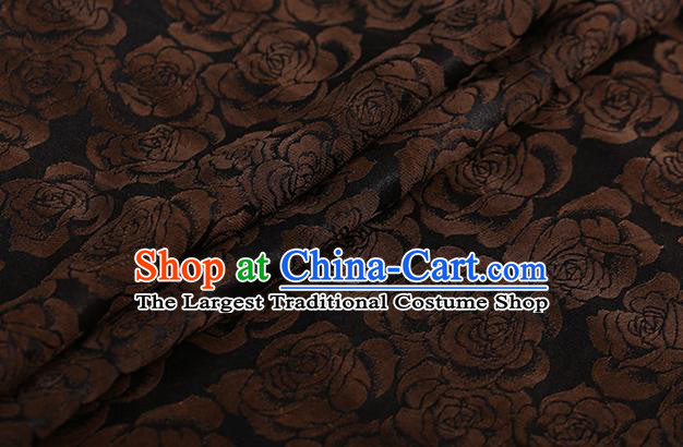 Chinese Classical Silk Fabric Traditional Golden Roses Pattern Satin Plain Cheongsam Drapery Gambiered Guangdong Gauze