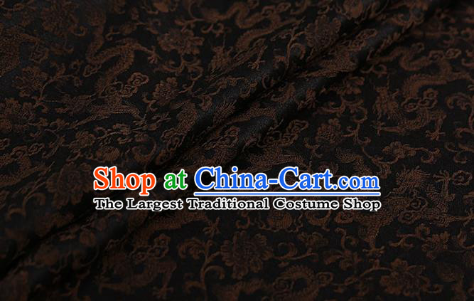 Chinese Classical Silk Fabric Traditional Brown Dragons Pattern Satin Plain Cheongsam Drapery Gambiered Guangdong Gauze