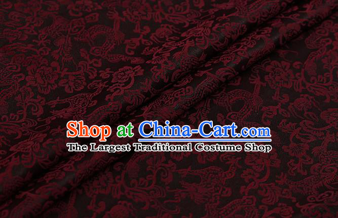 Chinese Classical Silk Fabric Traditional Red Dragons Pattern Satin Plain Cheongsam Drapery Gambiered Guangdong Gauze