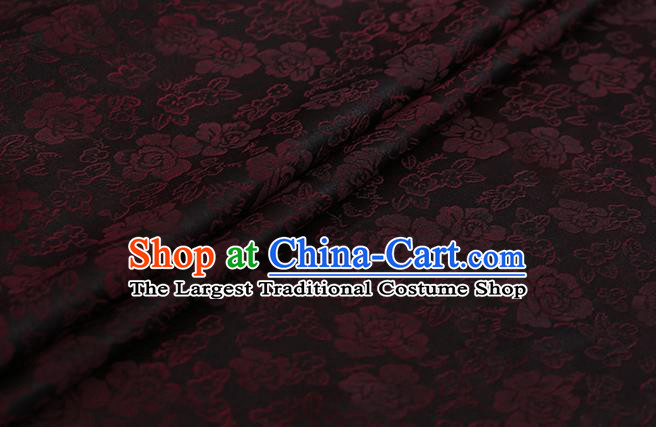 Chinese Classical Silk Fabric Traditional Red Roses Pattern Satin Plain Cheongsam Drapery Gambiered Guangdong Gauze