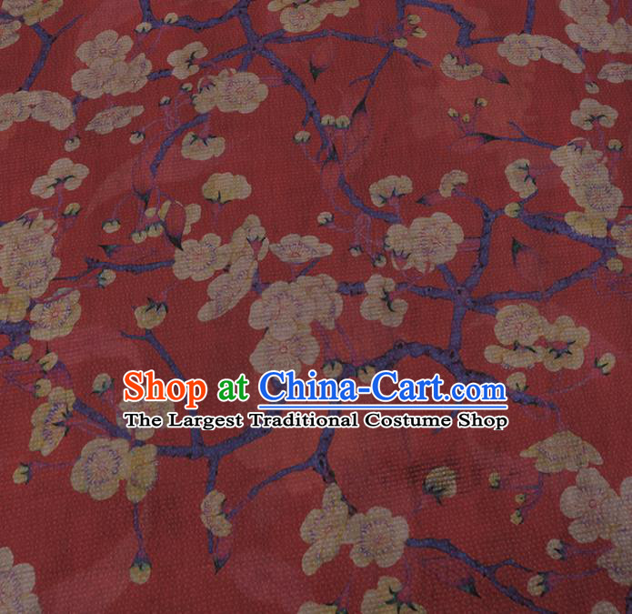 Chinese Classical Silk Fabric Traditional Pattern Red Satin Plain Cheongsam Drapery Gambiered Guangdong Gauze