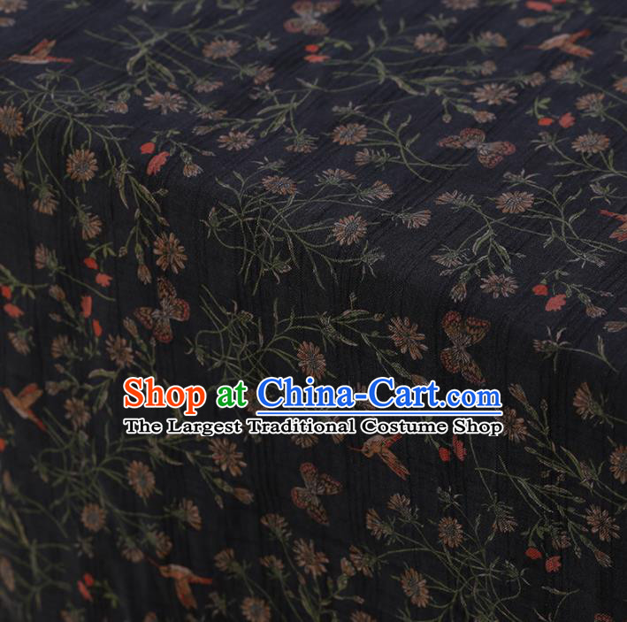 Chinese Classical Silk Fabric Traditional Pattern Black Satin Plain Cheongsam Drapery Gambiered Guangdong Gauze