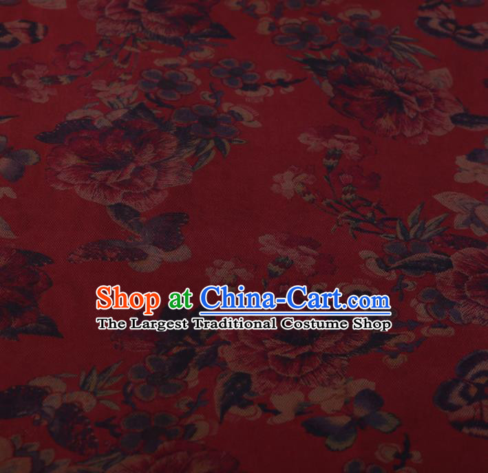 Chinese Classical Silk Fabric Traditional Peony Butterfly Pattern Red Satin Plain Cheongsam Drapery Gambiered Guangdong Gauze