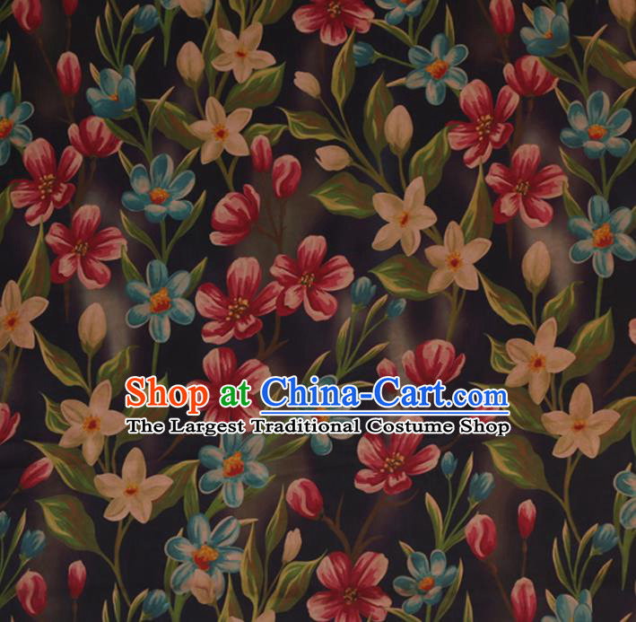 Chinese Classical Silk Fabric Traditional Flowers Pattern Satin Plain Cheongsam Drapery Gambiered Guangdong Gauze