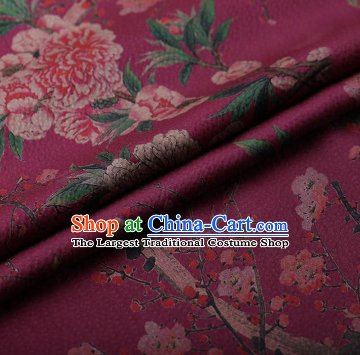 Chinese Traditional Silk Fabric Classical Peony Plum Blossom Pattern Purple Satin Plain Cheongsam Drapery Gambiered Guangdong Gauze
