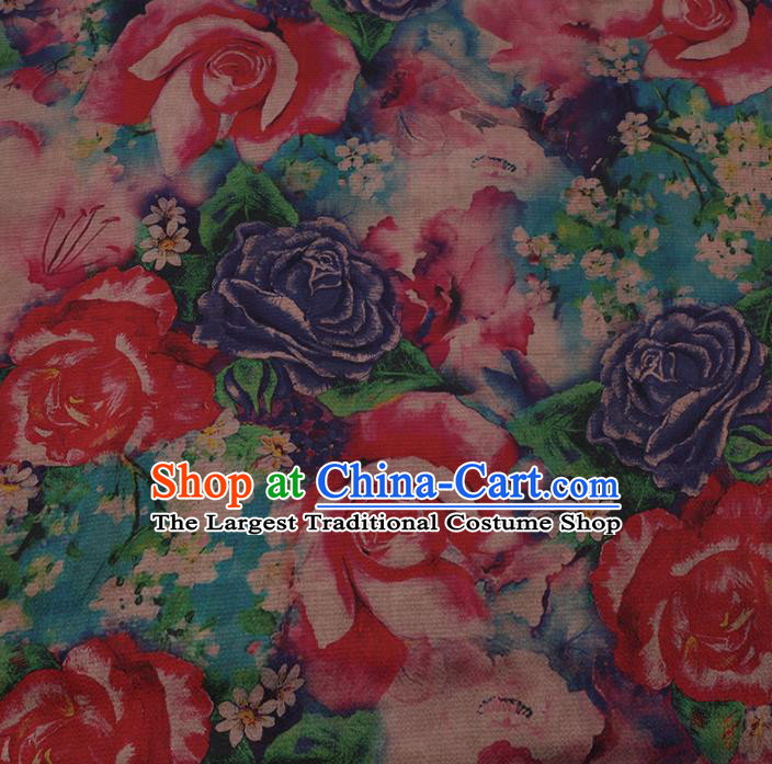 Chinese Traditional Silk Fabric Classical Roses Pattern Satin Plain Cheongsam Drapery Gambiered Guangdong Gauze
