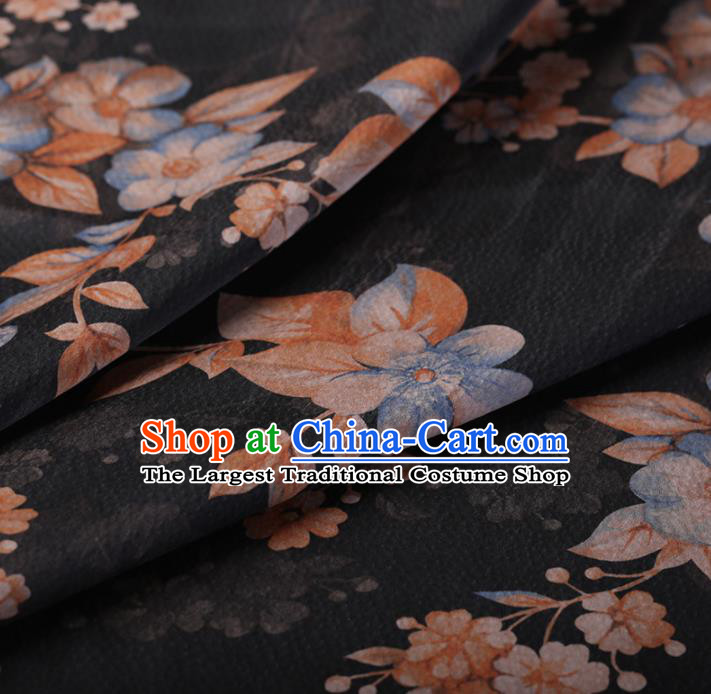 Chinese Traditional Silk Fabric Classical Pattern Black Satin Plain Cheongsam Drapery Gambiered Guangdong Gauze