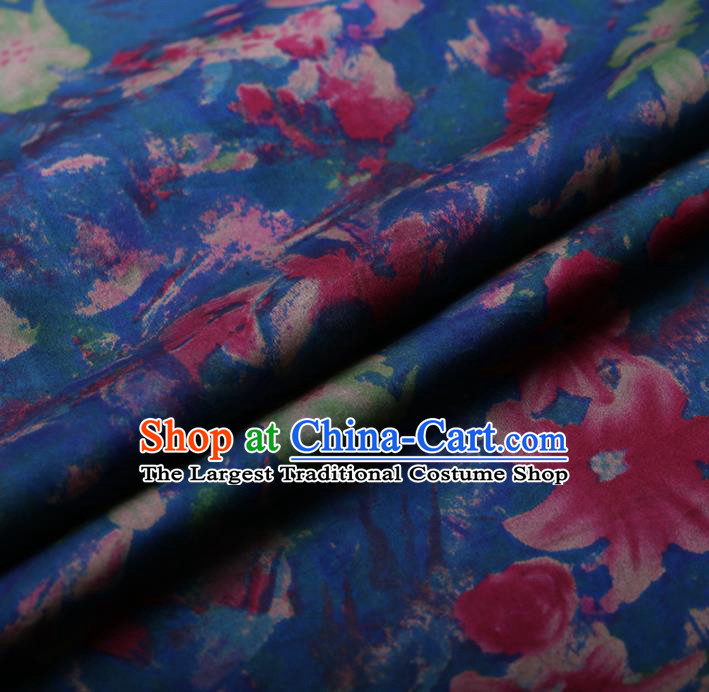 Asian Chinese Silk Fabric Traditional Classical Lily Flowers Pattern Blue Satin Plain Cheongsam Drapery Gambiered Guangdong Gauze