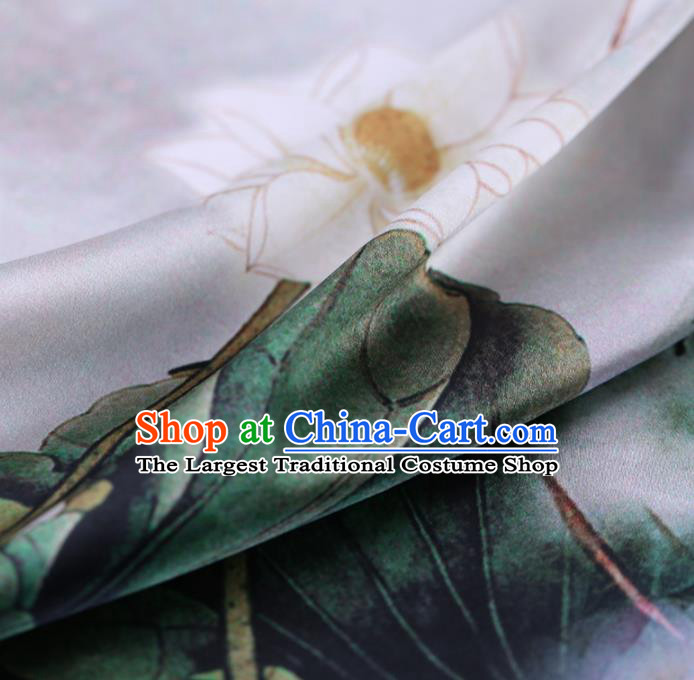 Asian Chinese Silk Fabric Traditional Classical Lotus Pattern White Satin Plain Cheongsam Drapery Gambiered Guangdong Gauze