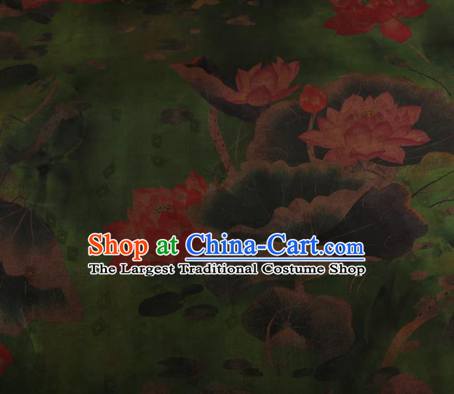 Chinese Traditional Silk Fabric Classical Lotus Pattern Green Satin Plain Cheongsam Drapery Gambiered Guangdong Gauze